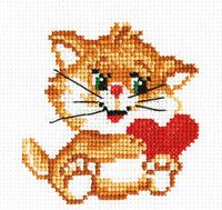 "Вышивка крестом ""Рыжий котенок"" (100x100 мм)"