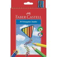 Трехгранные цветные карандаши JUMBO в картонной коробке (30 цветов + точилка)