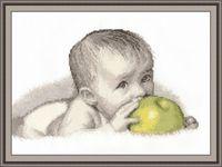"""Вышивка крестом """"Малыш с яблоком"""" (270x280 мм)"""