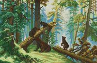 """Вышивка крестом """"Утро в сосновом лесу"""" (230х350 мм)"""
