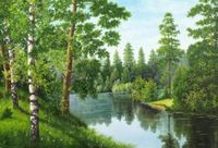 "Алмазная вышивка-мозаика ""Река в лесу"" (560х380 мм)"
