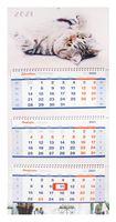 """Календарь настенный квартальный на 2021 год """"Милый кот"""" (33х81 см)"""