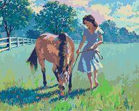 "Картина по номерам ""Артур Сарнофф. Девушка и лошадь"" (400х500 мм)"