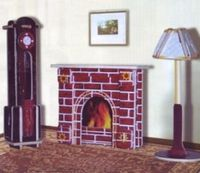 """Сборная деревянная модель """"Часы, лампа и камин"""""""