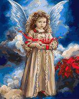 "Картина по номерам ""Ангелочек с подарком"" (400х500 мм)"