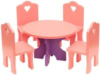 """Набор мебели для кукол """"Столик с четырьмя стульчиками"""""""