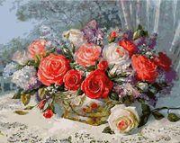 "Картина по номерам ""Корзинка с розами"" (400х500 мм)"