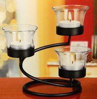 Набор подсвечников стеклянных на металлической подставке (3 подсвечника; 3 свечи; 13х10,5 см)