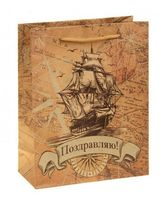 """Пакет бумажный подарочный """"Корабль"""" (18х23х8 см; арт. 10772294)"""