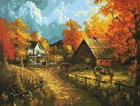 "Картина по номерам ""Деревня осенью"""