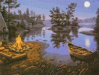 """Картина по номерам """"Костер у ночного озера"""""""