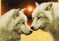 """Вышивка крестом """"Волки в полнолуние"""" (350x250 мм)"""