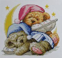 """Вышивка крестом """"Два медвежонка"""" (175х180 мм)"""