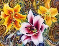 """Алмазная вышивка-мозаика """"Три лилии"""" (500x400 мм)"""