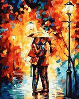 """Картина по номерам """"Поцелуй под дождем"""" (400х500 мм)"""