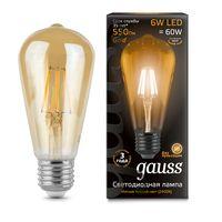 Лампа светодиодная Filament ST64 6W 550lm 2400К E27 golden LED 1/10/40