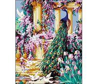 "Картина по номерам ""Павлин и цветы"" (400x500 мм)"