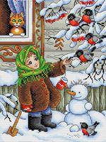 """Вышивка крестом """"Зимняя прогулка"""" (230x170 мм)"""