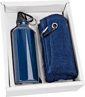 Набор. Фляжка (500 мл), полотенце (синие)