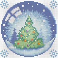 """Алмазная вышивка-мозаика """"Новогодний шарик с елкой"""""""