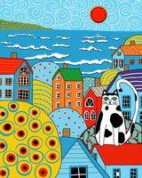 """Картина по номерам """"Карла Жерар. Кот и крыши"""" (400х500 мм)"""
