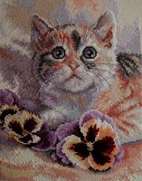 """Вышивка крестом """"Кот с анютиными глазками"""" (200x250 мм)"""