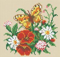 "Алмазная вышивка-мозаика ""Бабочка на лугу"" (200х200 мм)"