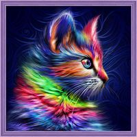 """Алмазная вышивка-мозаика """"Разноцветный котенок"""" (300х300 мм)"""