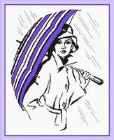 """Вышивка крестом """"Девушка под зонтиком"""" (230х300 мм)"""