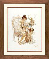 """Вышивка крестом """"Девушка с собакой"""" (390х490 мм)"""