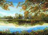 """Вышивка крестом """"Осенний пруд"""""""