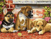 """Картина по номерам """"Три щенка"""" (400х500 мм)"""