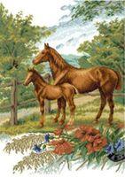 """Вышивка крестом """"Лошади на лугу"""""""