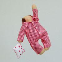 """Кукла ручной работы """"Сплюш"""" (в пижаме в клеточку)"""