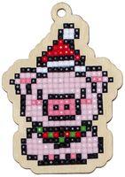 "Алмазная вышивка-мозаика ""Брелок. Новогодний поросенок"" (56х79 мм)"