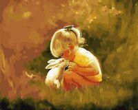 "Картина по номерам ""Девочка с кроликом"" (400х500 мм)"