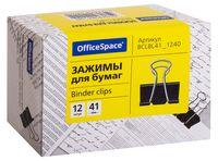 """Зажимы для бумаги """"OfficeSpace"""" (12 шт.; 41 мм; черные)"""