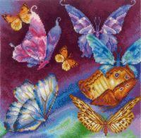 """Вышивка крестом """"Радужные бабочки"""" (280x280 мм)"""