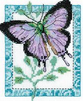"""Вышивка крестом """"Бабочка лиловая"""" (110х140 мм)"""