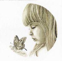 """Вышивка крестом """"Девочка с бабочкой"""""""