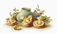 "Вышивка крестом ""Натюрморт с грибами"" (390х205 мм)"