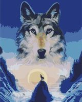 """Картина по номерам """"Волк и луна"""" (400х500 мм)"""