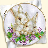 """Вышивка крестом """"Кролики"""""""