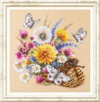 """Вышивка крестом """"Луговые цветы"""" (250x250 мм)"""