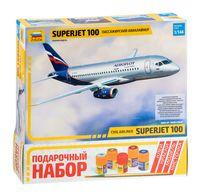 """Сборная модель """"Региональный пассажирский авиалайнер """"Суперджет 100"""" (масштаб: 1/144; подарочный набор)"""
