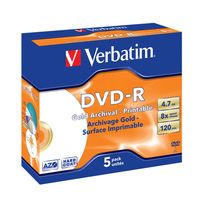 Диск DVD-R 4.7Gb 8x Verbatim Gold Archival Grade Printable (в упаковке 5)