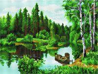 """Алмазная вышивка-мозаика """"Лесное озеро"""" (300х400 мм)"""