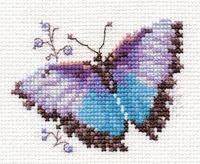 """Вышивка крестом """"Яркие бабочки. Голубая"""" (80х60 мм)"""
