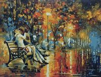 "Картина по номерам ""Поцелуй на скамье"" (400х500 мм)"