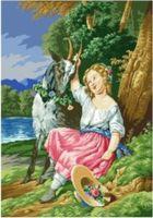 """Канва с нанесенным рисунком """"Девочка с козой"""""""